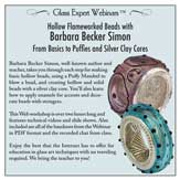 Webinar DVD/ Barbara Becker Simon/ Hollow Flameworked Beads Webinar DVD