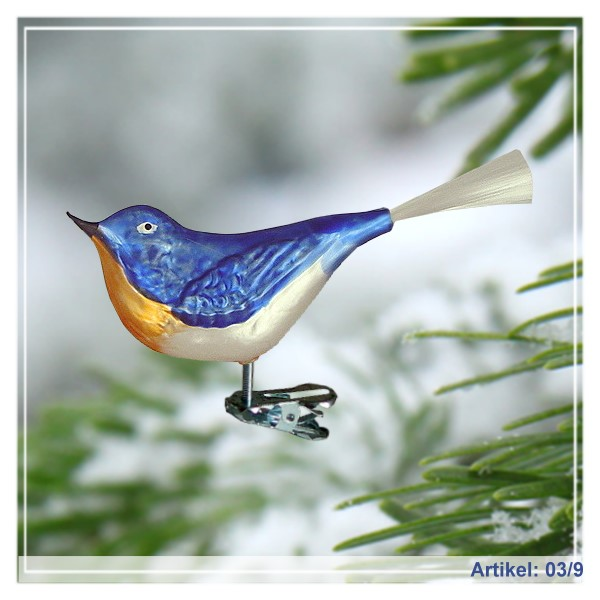 Bluebird of Happiness  with Spun Glass Tail, Large